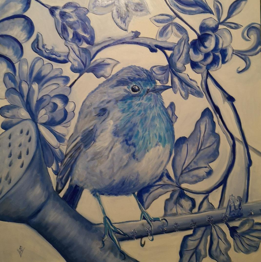Giant robin...Delfts blue 80x80cm