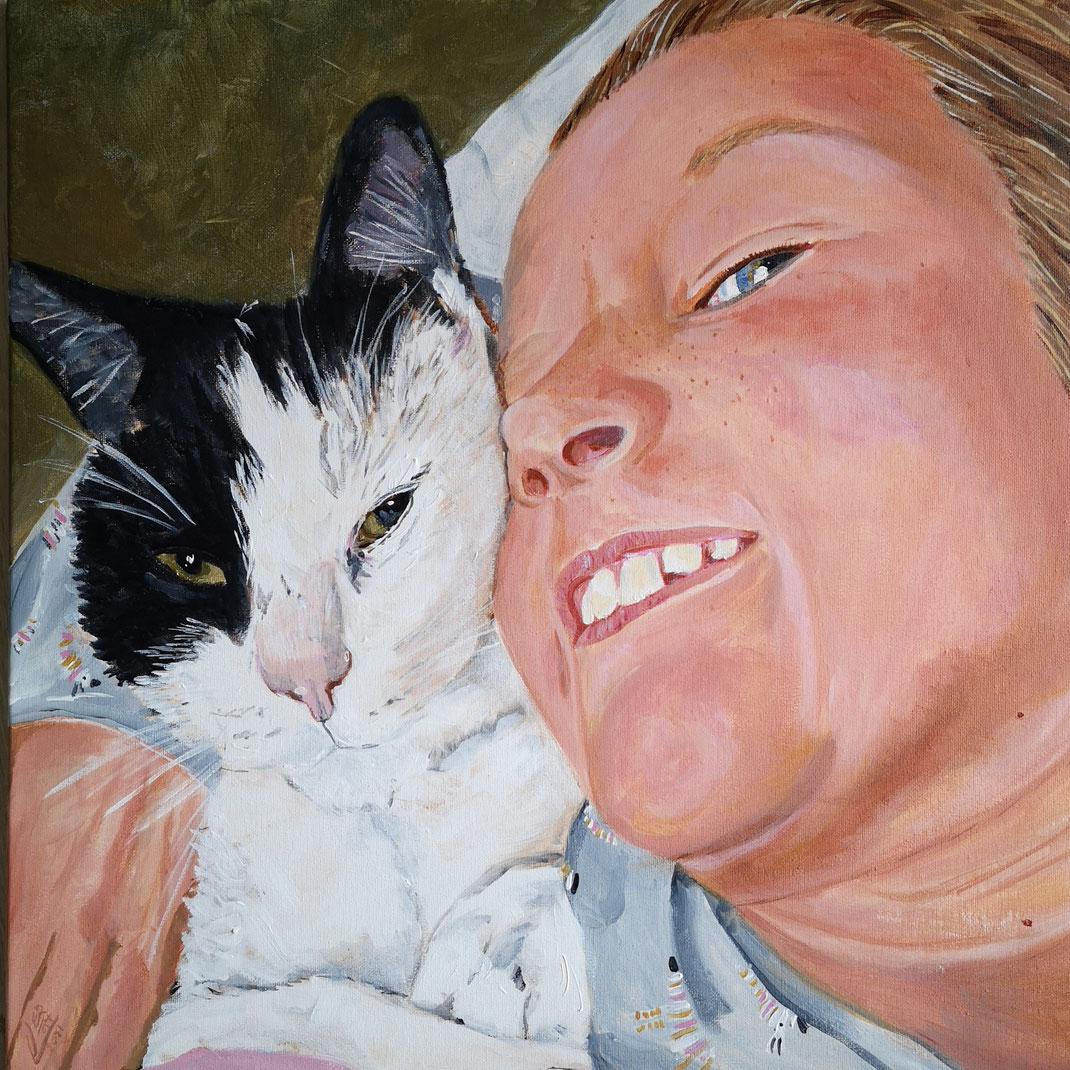 Isabel & Panda wie is blijer 50x50cm acrylverf op doek ingezonden voor portrtet wedstrijd Nationaal atelier