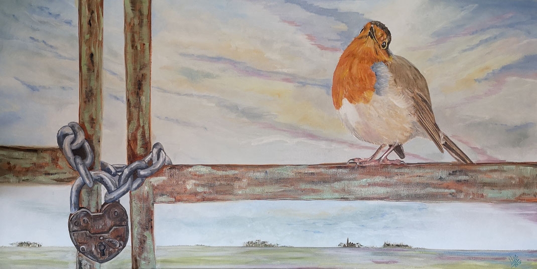 "Giant robin ""Locked""120x60 cm"