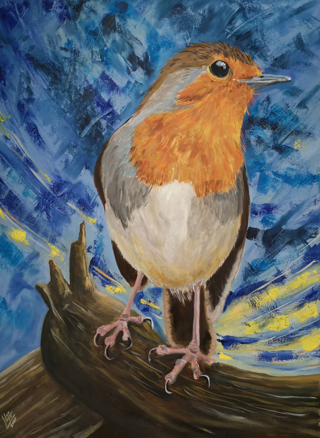 "Giant robin ""look back"" 60x80 cm"