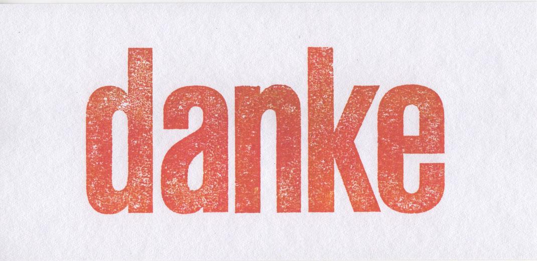 """""""danke"""" // 23 x 11 cm // 4 €"""