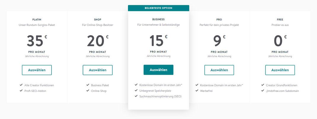 screenshot jimdo - aufs Bild klicken und du kommst zur aktuellen Preisübersicht