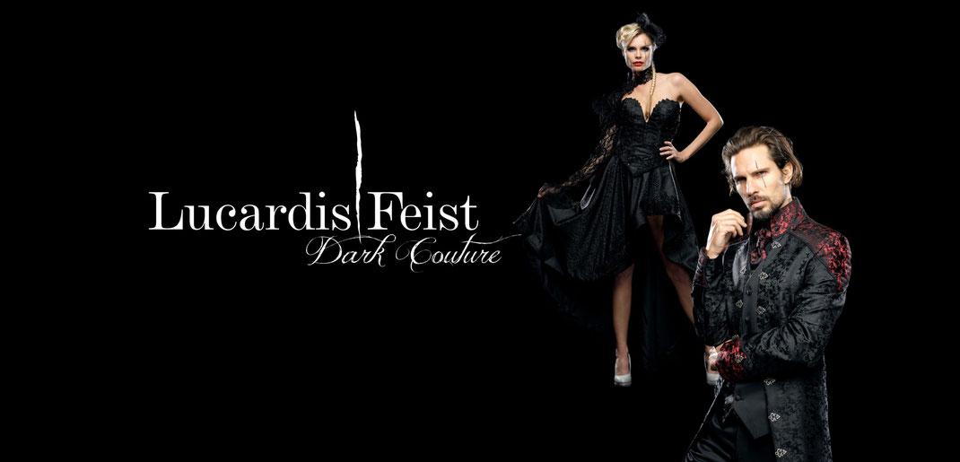 gehrock, hochzeitsanzug, extravagante anzüge, ausgefallene brautmode, besondere brautkleider, schwarzes brautkleid, gothic anzug, lucardis feist