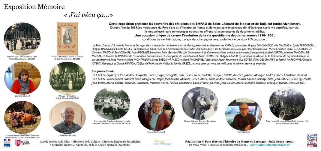 Exposition mémoire résidents EHPAD saint léonard de noblat bujaleuf alzheimer souvenirs transmission vie vécu pays d'art et d'histoire de monts et barrages pays monts et barrages