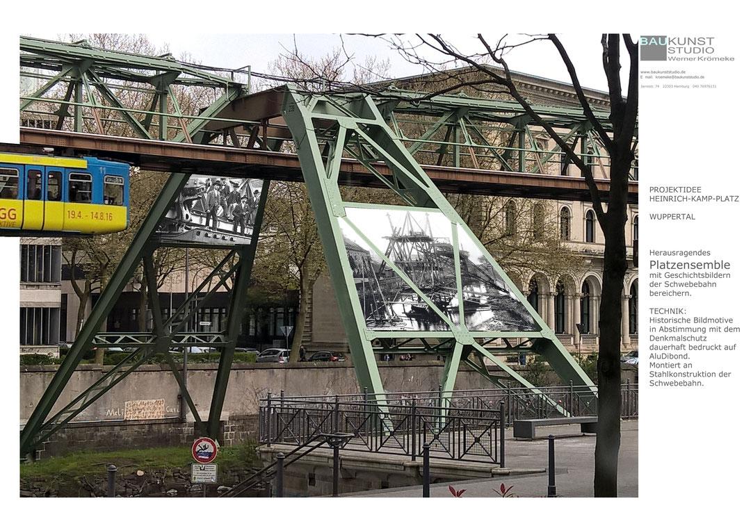 Geschichte des Baus der Wuppertaler Schwebebahn originell künstlerisch inszeniert.