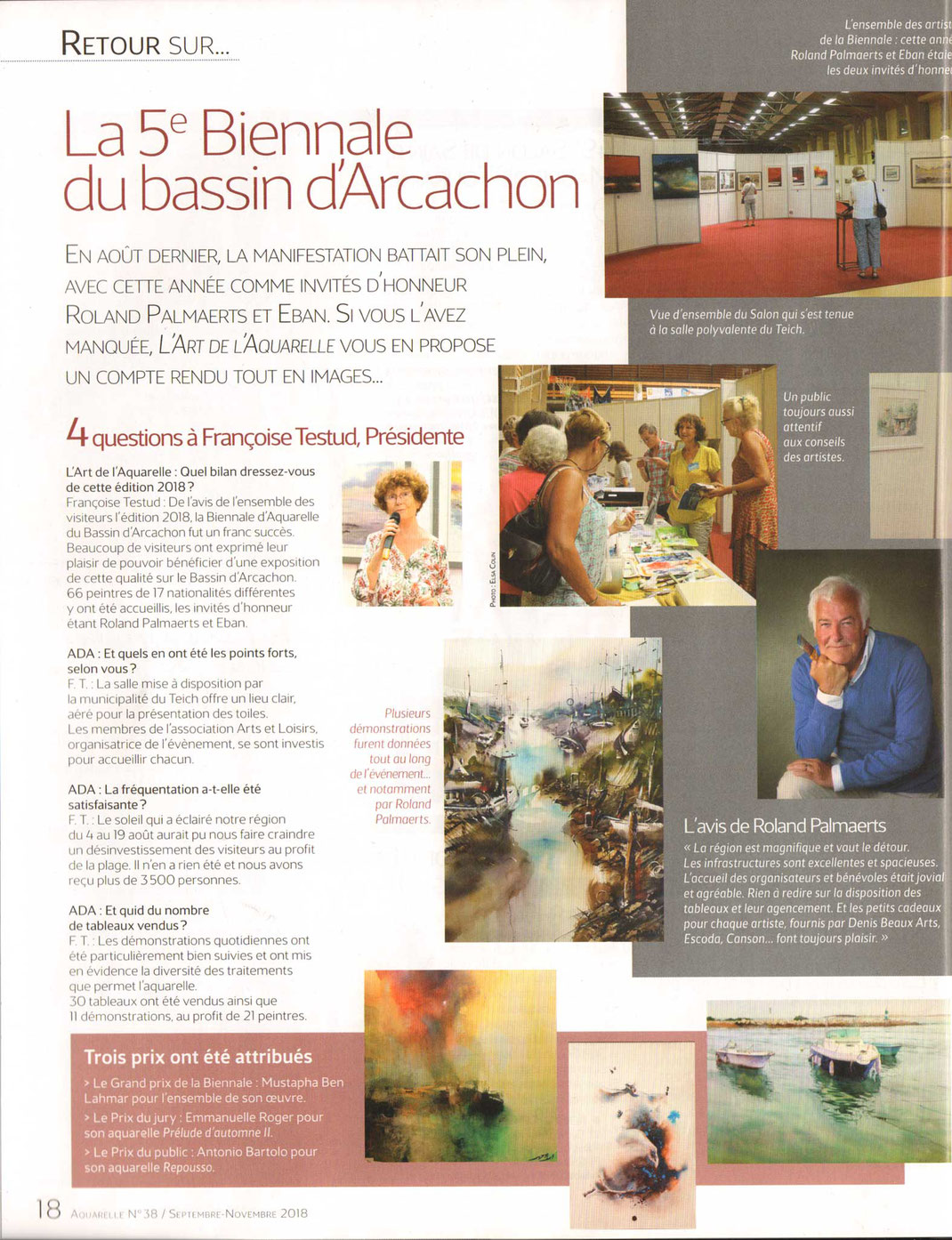 Article l'Art de l'Aquarelle no 38 Septembre / Novembre 2018 page 1