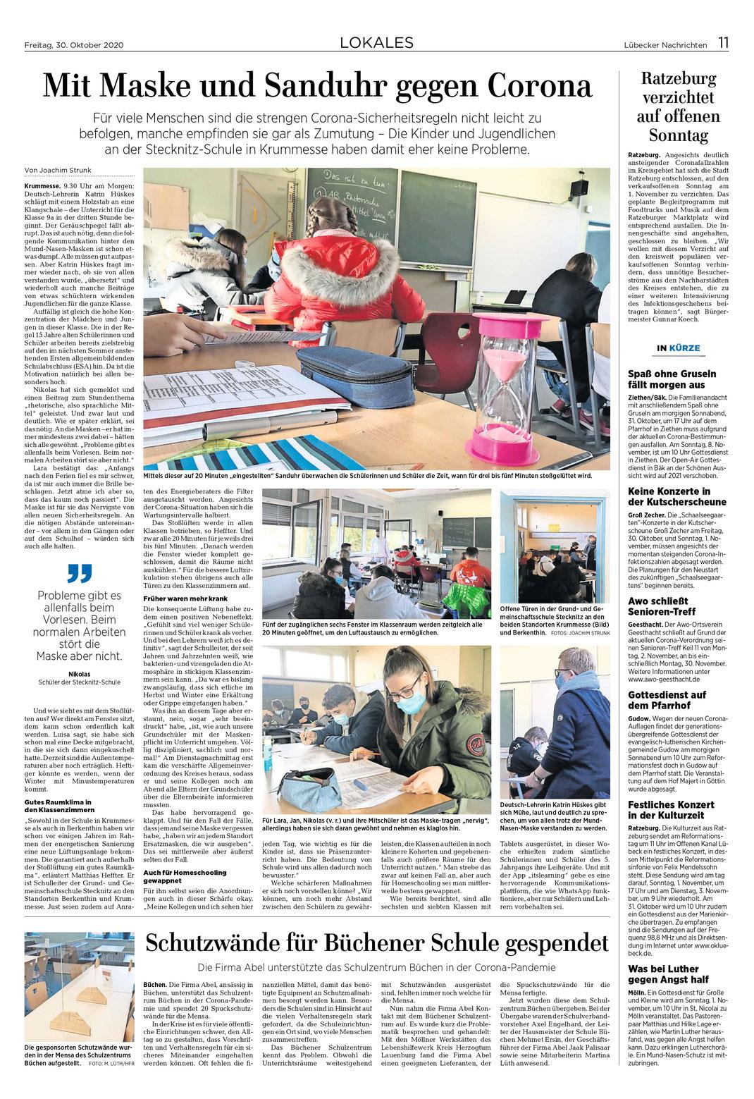 Quelle: Lübecker Nachrichten, vom 30.10.2020, Fotos und Bericht von Joachim Strunk