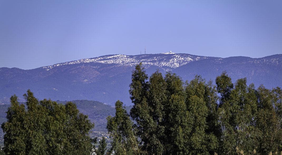 Blick von Fasouri Wetlands zum Mount Olympos - ca. 35 km entfernt
