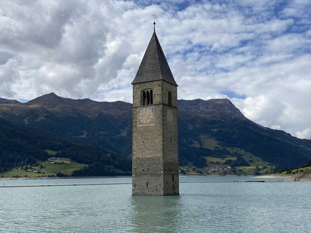 Graun, Vinschgau, Reschen, Reschensee, Graun, Kirchturm