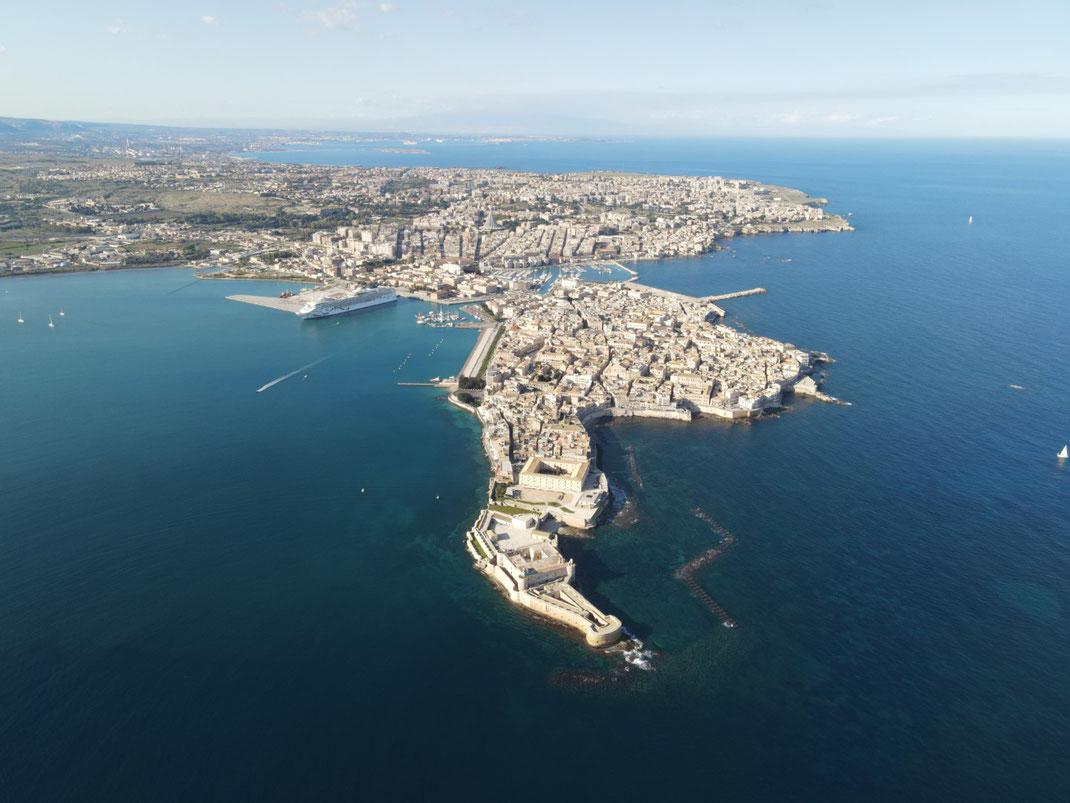 Italien, Sizilien, antike Stätte, Sehenswürdigkeit, Syrakus, Burg, Hafen