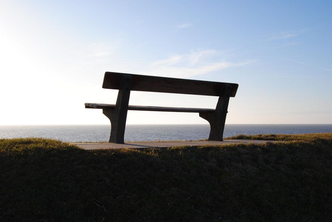 Eine Holzbank auf dem Nordsee-Deich mit traumhafter Aussicht