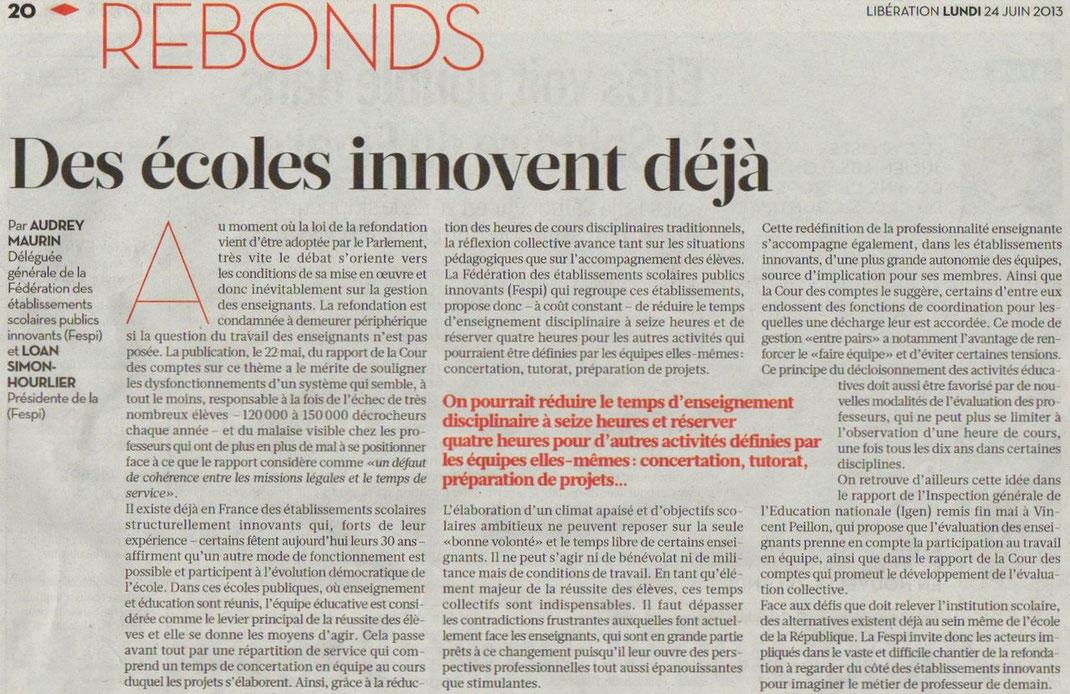 Libération,  le 24 juin 2013