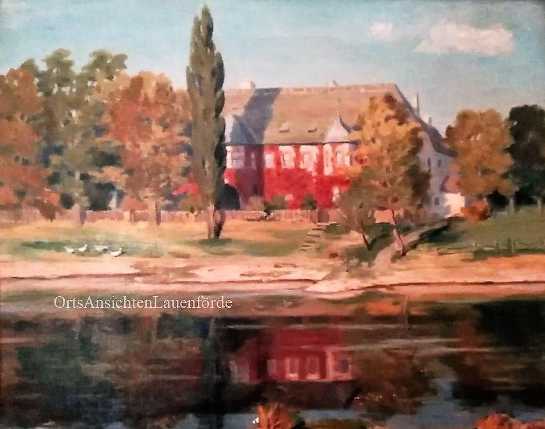 """Die Domäne """"in Öl"""" ! Im Auftag meiner Mutter von Otto Küppers (Eifelmaler) gemalt. (Ansicht von der Beverunger Seite)"""