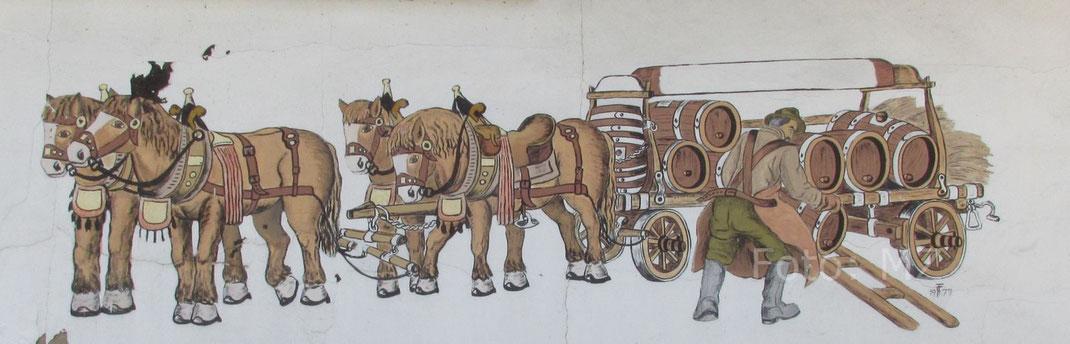 Brauereigespann am ehemaligen Pferdestall