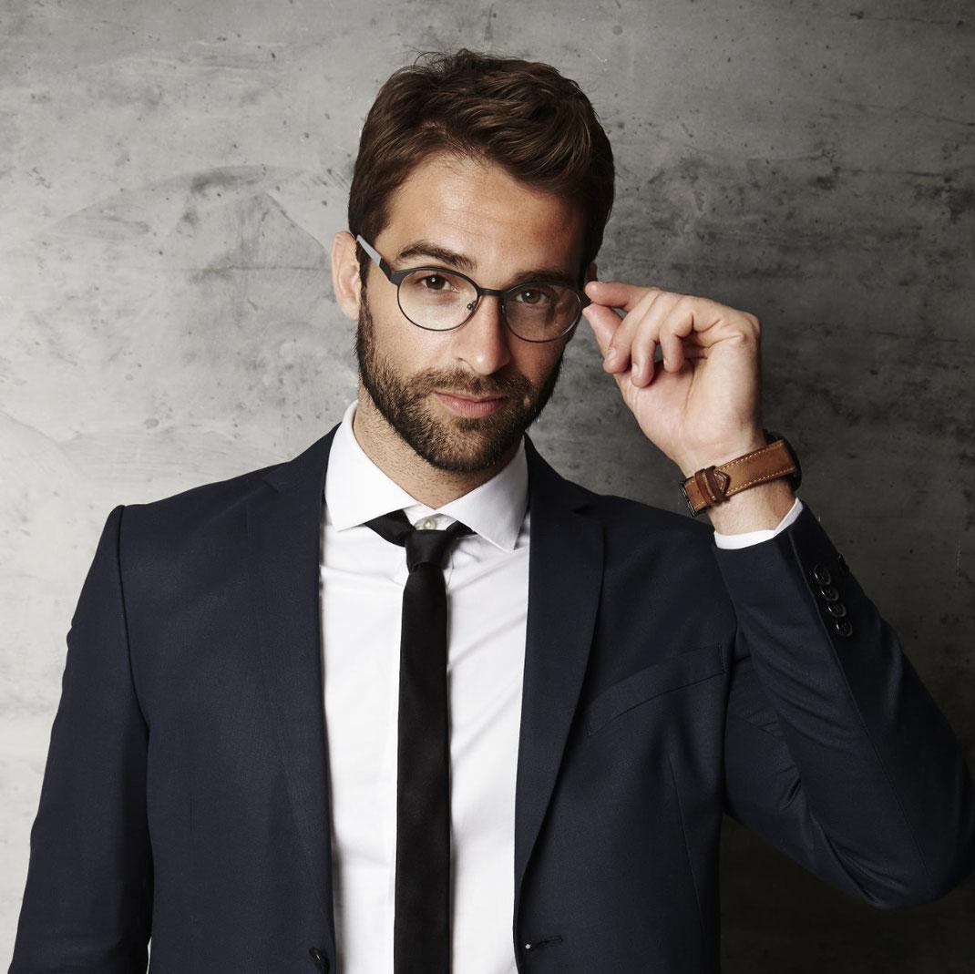 moderne stilvolle Herrenbrillen rund