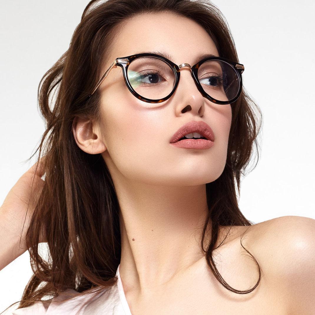 runde Hornbrille mit Metall für Damen