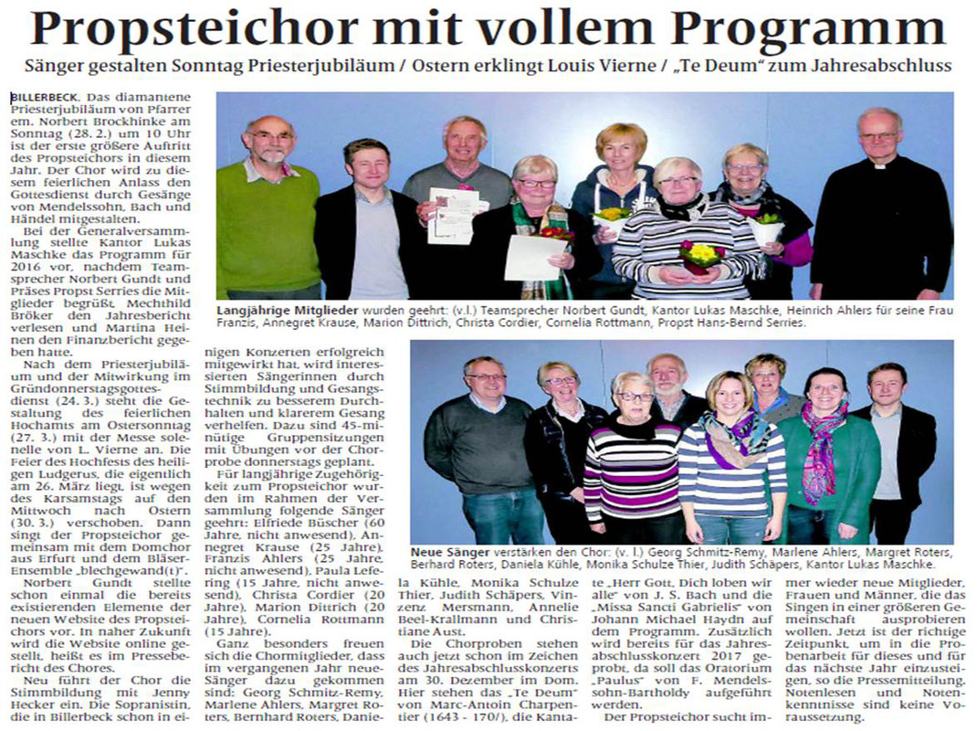 Billerbecker Anzeiger vom 24.02.2016 (Generalversammlung, neue Mitglieder, Ehrungen und Programm)