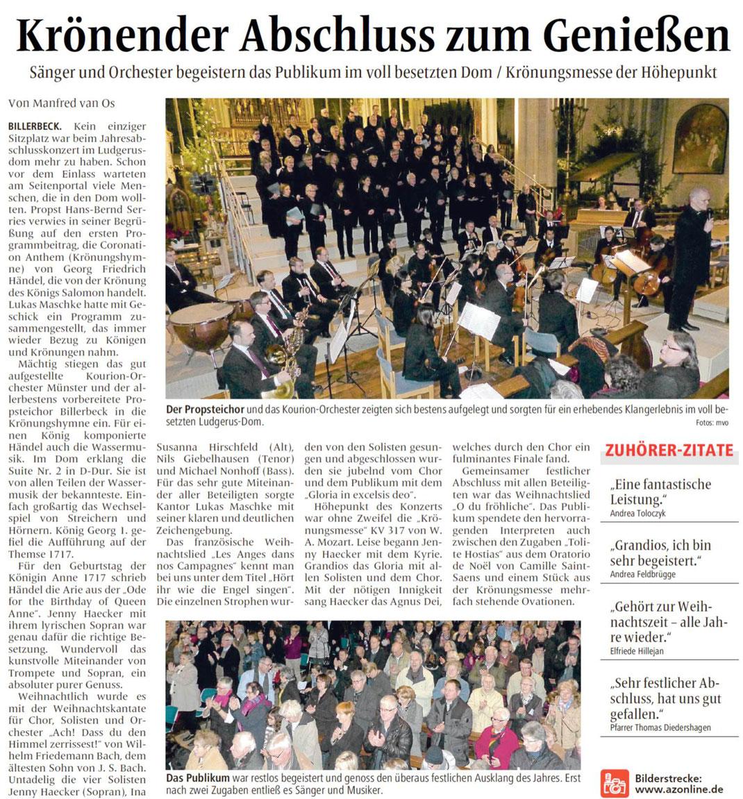 Billerbecker Anzeiger vom 02.01.2016 (Jahresabschlusskonzert 2015)