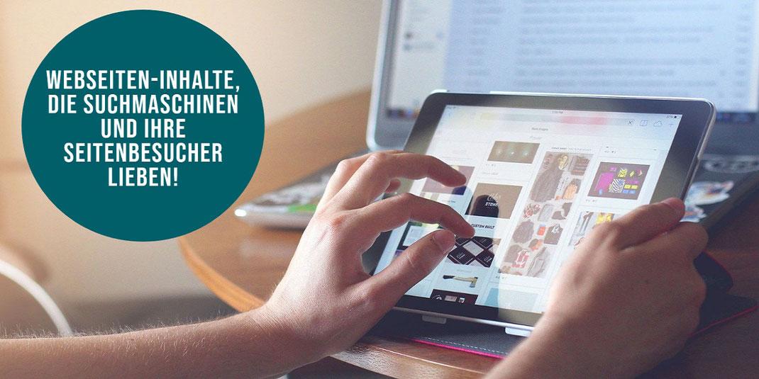 Webseiten Texte, Bilder, Grafik und Video Inhalte Erstellung Produktion von SEO Content Agentur in Berlin.