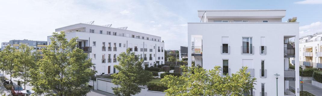 Architekturfoto Mehrfamilienhaus in Darmstadt Kranichstein von dem Architekturbüro Eismann und Partner aus Frankfurt am Main. Panorama mit Parallelität. Fotograf // olya.design