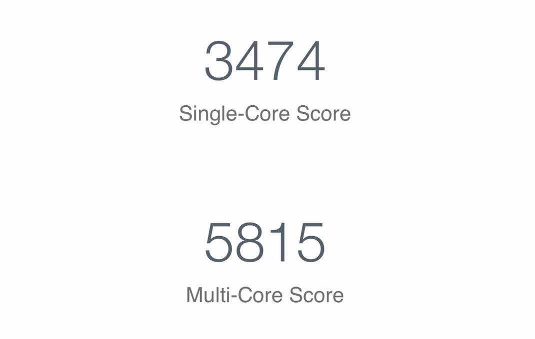 Geekbench Test auf meinem iPhone nach dem Spectre/Meltdown Update