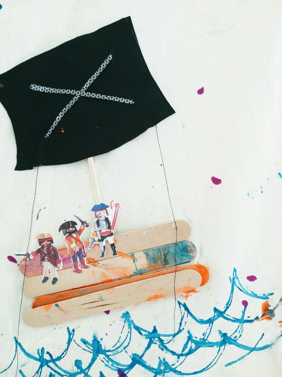 D.I.Y. Kunst Geschichten fürs Kinderzimmer, Stoffmalerei, Wandbehang, Wandbild, Gästebuch,Bilderbuch aus Stoff, mit Kindern malen, Piratenschiff