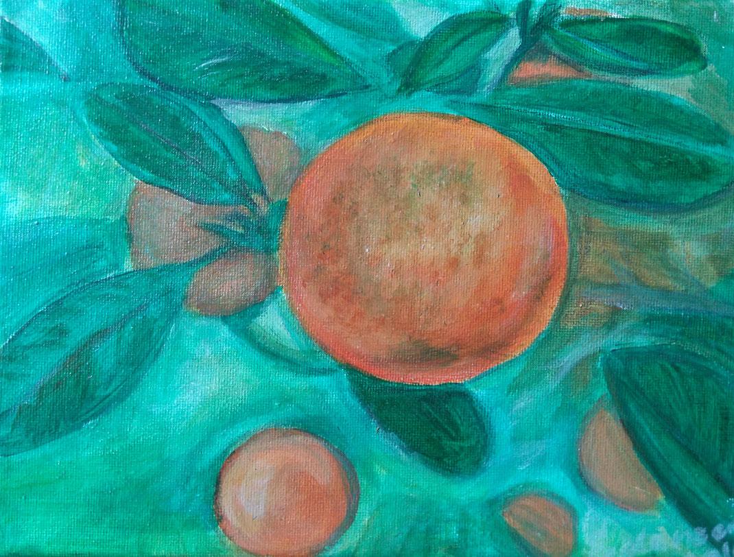 """""""Orange"""", Acryl auf Leinwand 2016–24x18 cm, Preis:Fragen Sie nach"""
