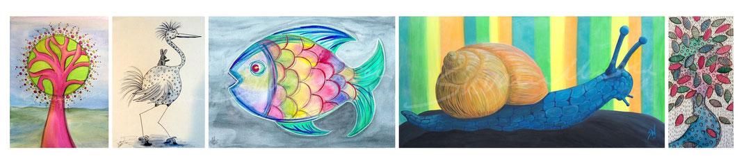 silvanillion.de - Malerei & Illustration - farbenfroh, monochrom, gegenständlich, abstrakt - kleine und große Bilder vom Lesezeichen bis zur Leinwand