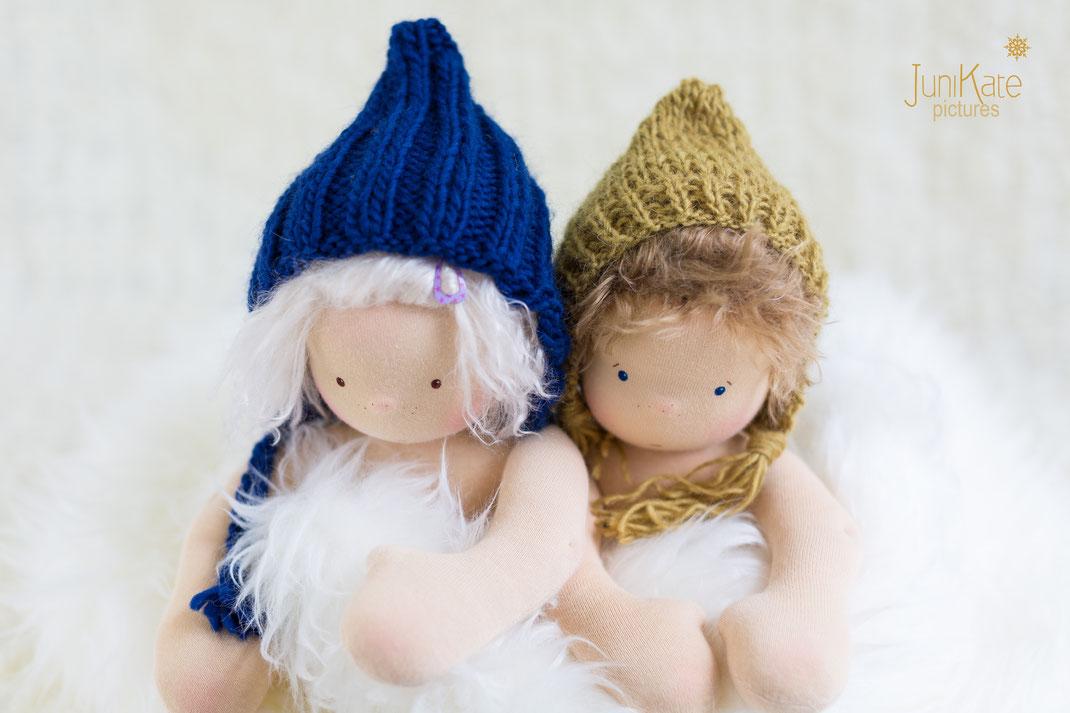 Puppe wie Waldorfpuppe mit Pixiemütze
