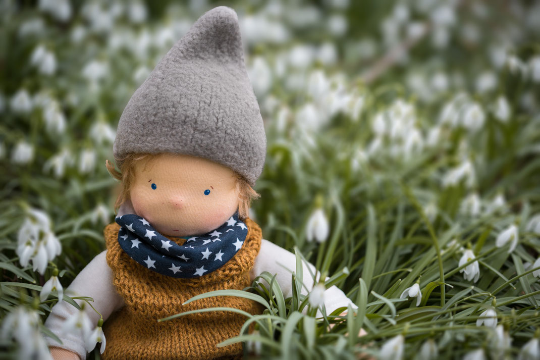 Puppenjunge nach Waldorf, im Schneeglöckchen-Feld