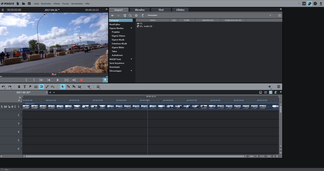 Mein Startbildschirm von Video deluxe