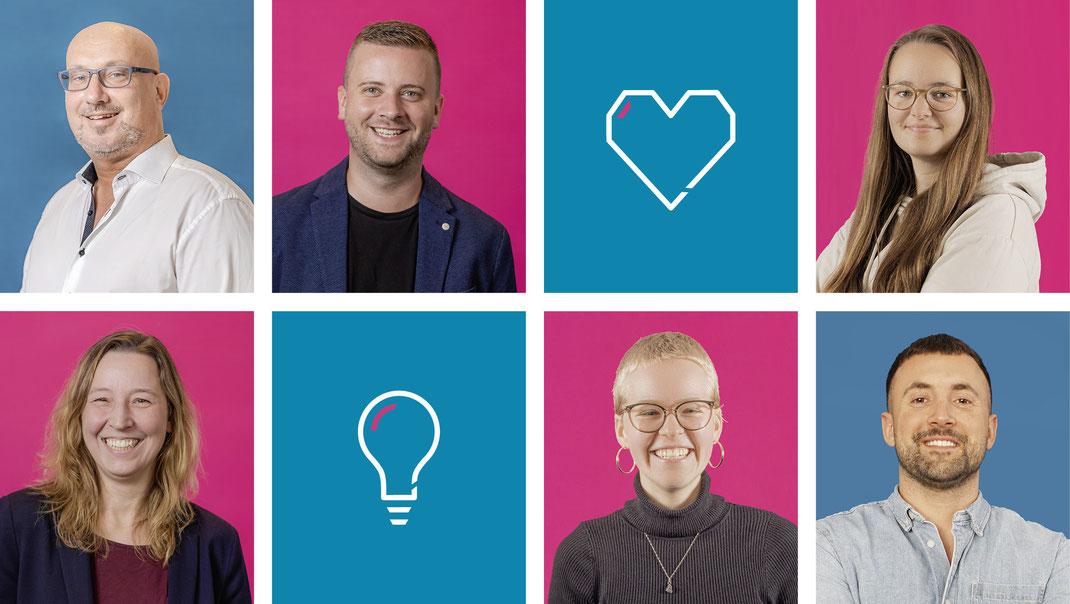 Das Team der plan B Werbeagentur Bremen: Jens Zabel, Sarah Gensch, Nils Othersen, Eva Wichmann, Antonia Lühmann, Sascha Schröder, Anna Koutschinskas, Jenny Horstmann