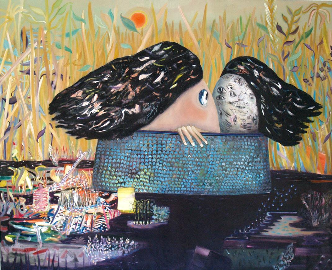 Thanatos and Hypnos, 2021,  oil on canvas, 150 x 185 cm