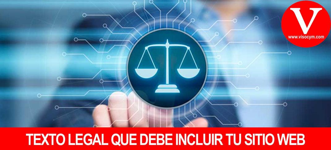 TEXTO LEGAL QUE DEBE INCLUIR TU SITIO WEB