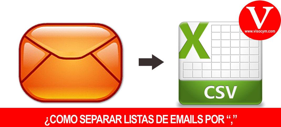 """Como separar lista de correos electrónicos por coma """","""" en excel o word"""