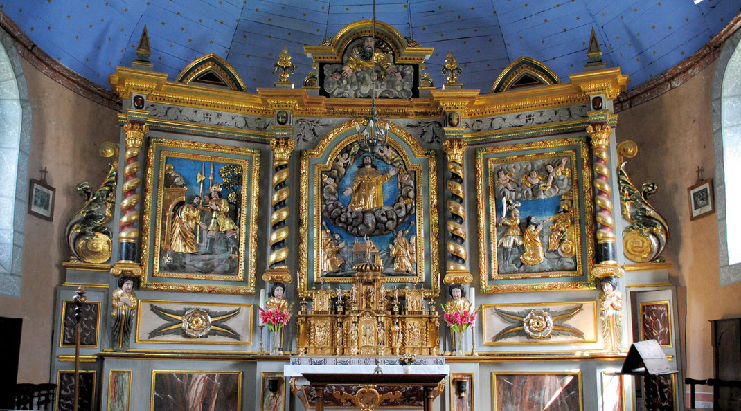 Retable remarquable de l'église d'Ourdis-Cotdoussan ©Thibaut de Rouvray
