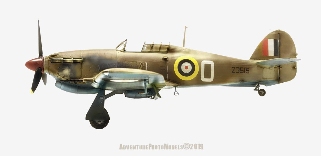 Hawker Hurricane Mk IIc (Malta cam) - Trumpeter kit 1/24 scale model (customized) Version: 126 Sqn. RAF inspired on Tà Qali (Malta) based in 1941