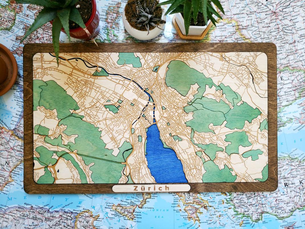 Zürich 3 D Design Wood Map Stadtkarte aus Holz in dreidimensionaler Gravur Holzkarte Schweiz Züri