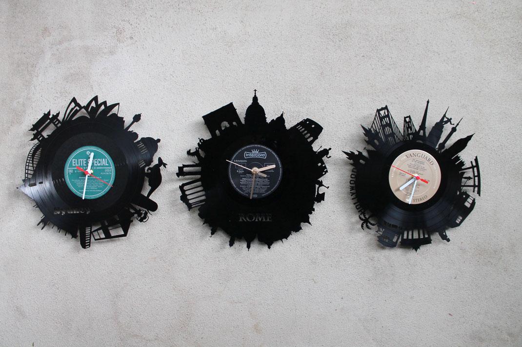 Vinyl Wanduhr Schallplattenuhr Uhr aus echten Schallplatten geschnitten gelasert mit Motiven Motivuhr Stäfte London New York Geschenkidee Unikat Wanduhr Vinyluhr