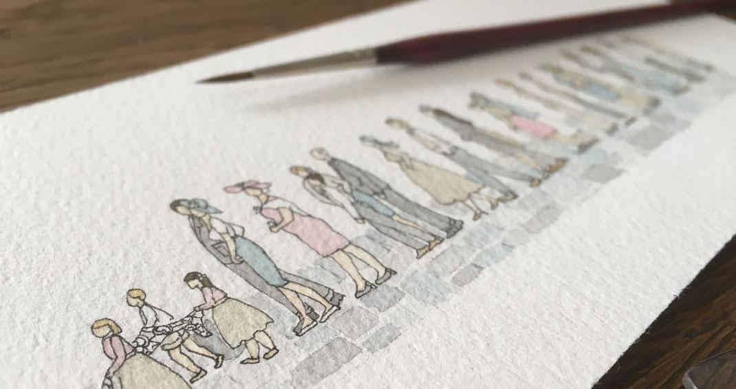 aquarelle, miniature, aquarelle miniature, dorothée piatek, file d'attente, patience, gens, personne, taxi, mariage, concert, supermarché