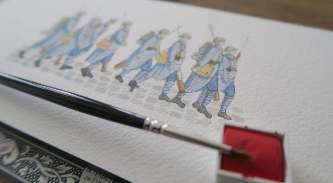 1914/18, soldats, soldat, militaire, première guerre mondiale, guerre, arme, bleu horizon, aquarelle, miniature, aquarelle miniature, dorothée piatek