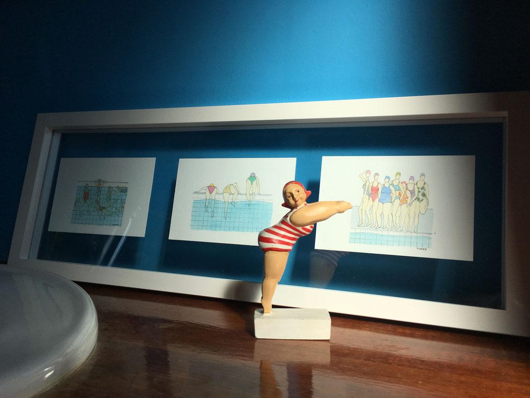 aquarelle, miniature, aquarelle miniature, dorothée piatek, baigneuses, plongeuse, plonger, salle de bain, déco, maillot de bain, piscine, nager, cours de natation, natation, décor, décoration, nue