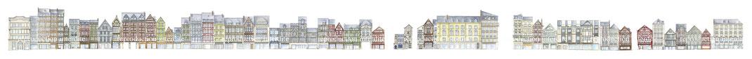 Rue du gros horloge, gros horloge, rouen, colombage, commerces rouen, vitrine rouen, batiment, architecture, rue, pavé, moyen âge, tourisme rouen, tourisme, Office du tourisme, maison, magasin, noel, cadeau noel, aquarelle, aquarelle miniature, rue