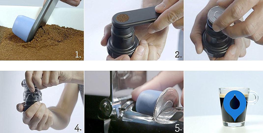 Mit dem Starterkit können Sie die wiederbefüllbare Bluecup blitzschnell füllen und aromadicht  versiegeln.