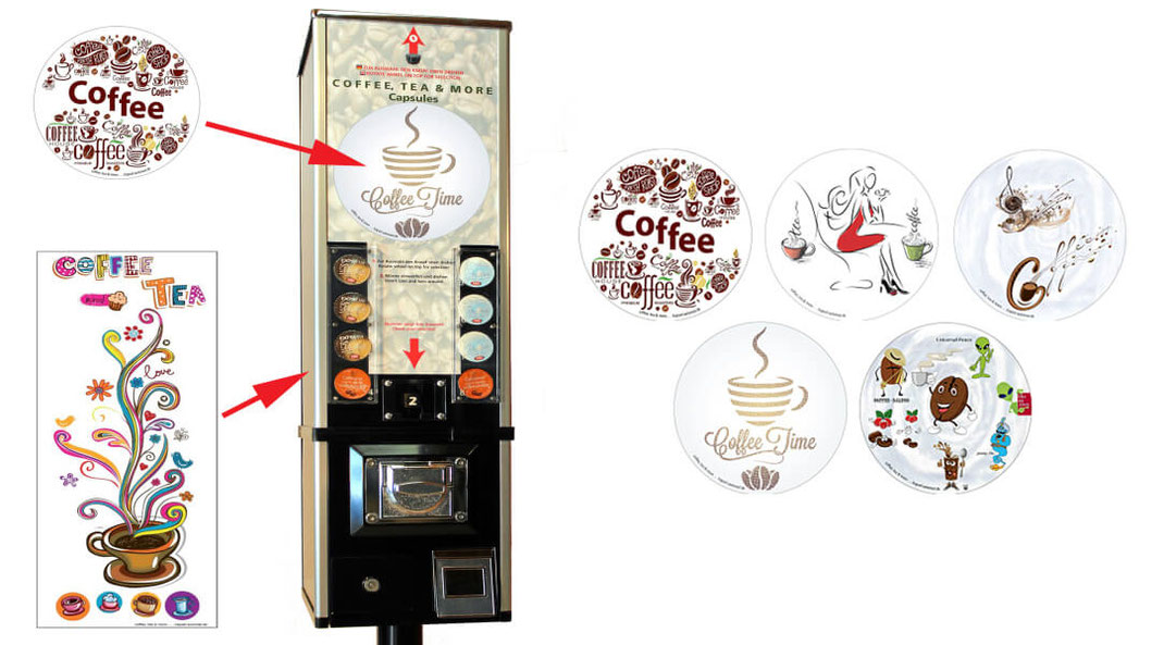 Kaffeeverkaufsautomat in verschiedenen Designs