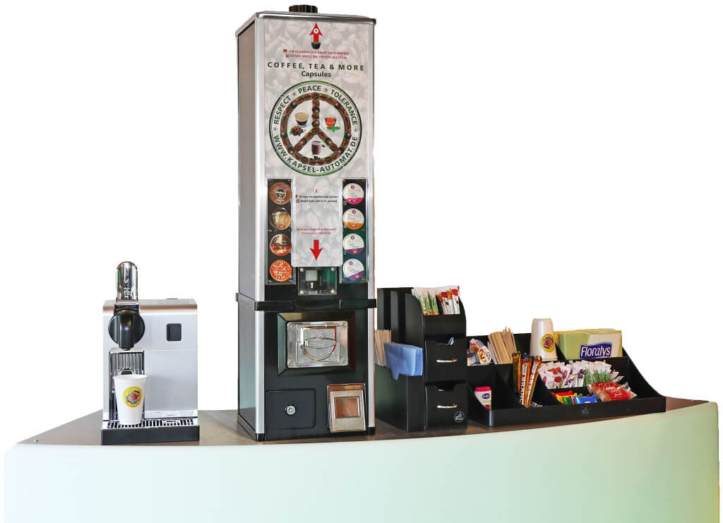 Kaffee-Kapsel-Automat mit Kaffeemaschine und Kaffeestation