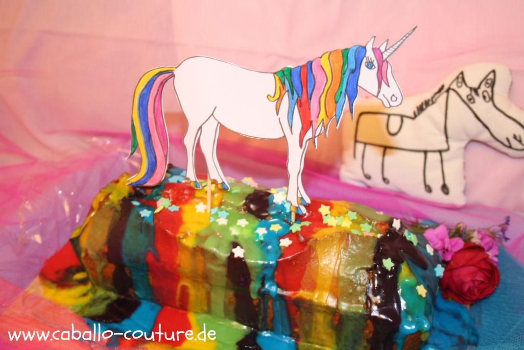 Einhornkuchen backen, Einhorn zum Ausmalen, Vorlage Einhorn, Regenbogenkuchen backen, Regenbogenkuchen, Caballo Couture, Rezept Einhornkuchen, unicorn, unicorn caken