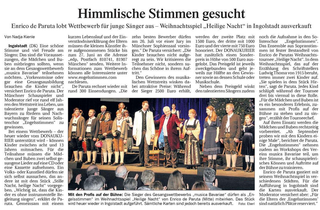Donaukurier Gesamtausgabe vom 21.05.2015 zur Ausschreibung des 12. Gesangswettbewerbs für den Nachwuchsförderpreis musica Bavariae 2015