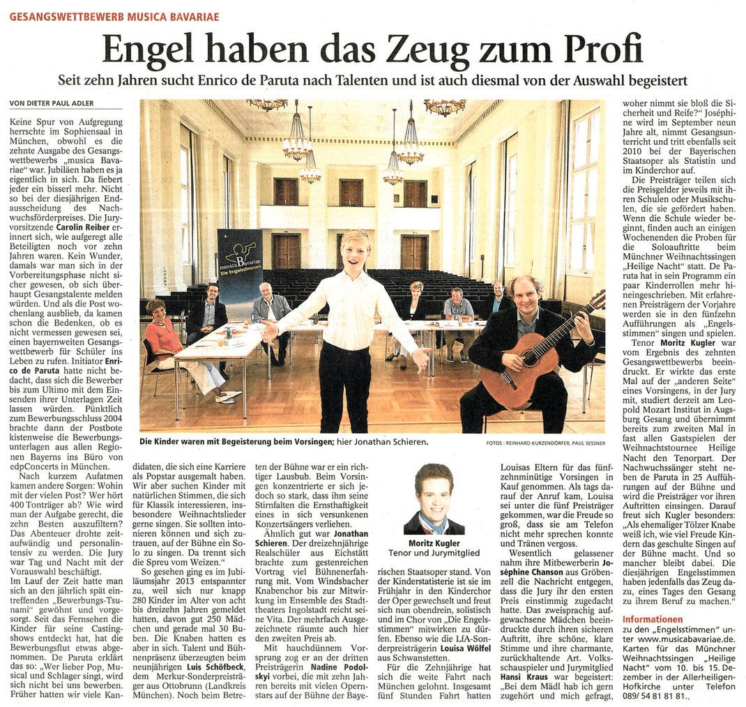 Merkur zum Gesangswettbewerb musica Bavariae 2013, Gesamtausgabe vom 23.08.2013