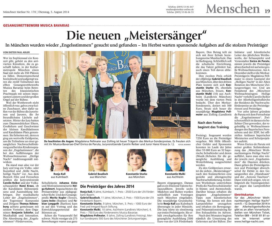 """Merkur-Bericht, Gesamtausgabe, """"Menschen"""" S. 19, vom 5.8.2014 über den 11. Gesangswettbewerb musica Bavariae 2014 in München"""